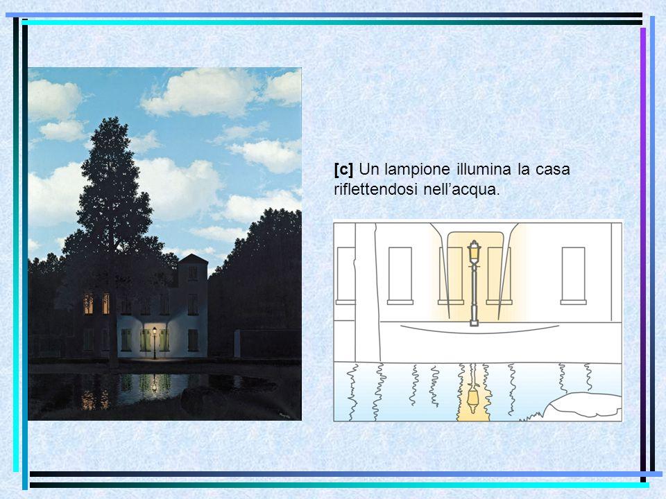 [c] Un lampione illumina la casa riflettendosi nell'acqua.